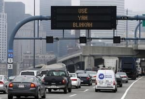 An electronic highway sign on Interstate 93in Mass…