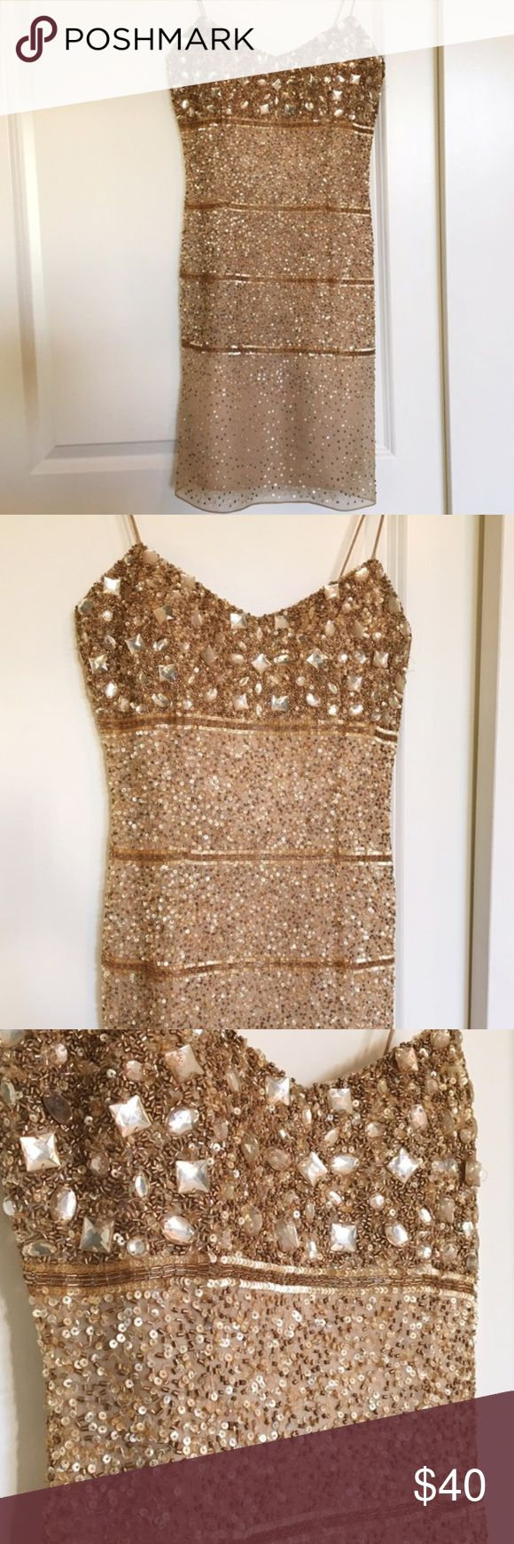 Aidan Mattox Gold Sequin and Beaded Dress This is an absolutely gorgeous dress! It is in great condition except for the strap needs a little reinforcement. Very minor fix and reflected in the price. Aidan Mattox is a very nice brand Aidan Mattox Dresses