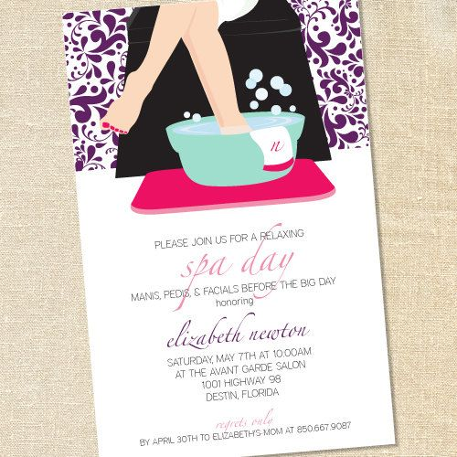 sweet wishes spa day pedicure party invitations printed digital