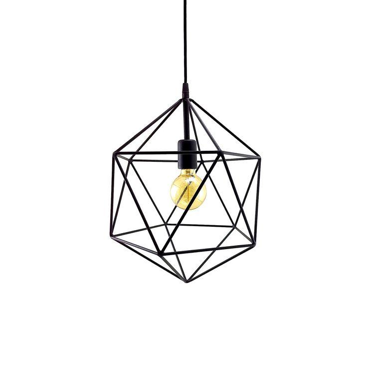 Handgemaakte geometrische icosaëder hanger licht.  De metalen geometrische kap is geïnspireerd door Platonische icosaëder en het is gemaakt van metalen zenuwen aan elkaar gelast.  Een gloeilamp socket, die is verborgen in een metalen kop in zwarte kleur, is geïnstalleerd in de metal wereld.  De lamp is aangesloten met behulp van een textiel-kabel in zwarte kleur.  De plafond-luifel is gemaakt van metaal en kan gemakkelijk worden vastgesteld op het plafond met twee schroeven.  Neemt normale…