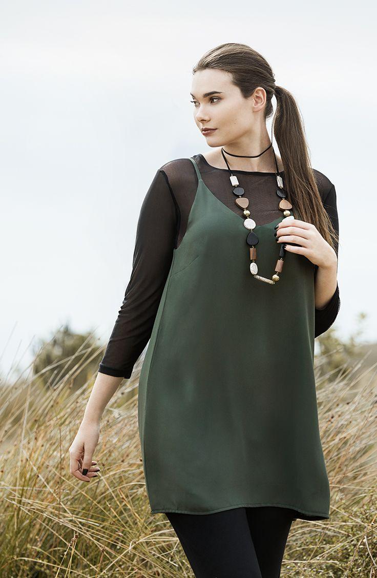 K+K - plus sized clothing for the curvy woman sizes 10-26. Autumn fashion. Slip dress. Mesh top. Khaki cami dress.