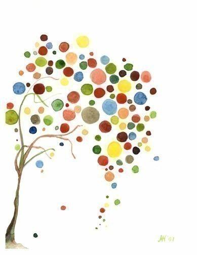 Acuarela Vintage Retro Diseño cae del árbol de por jellybeans