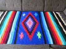 Mexikanische Decke Raute-Muster 200x125 cm Blau  FALSA STIL