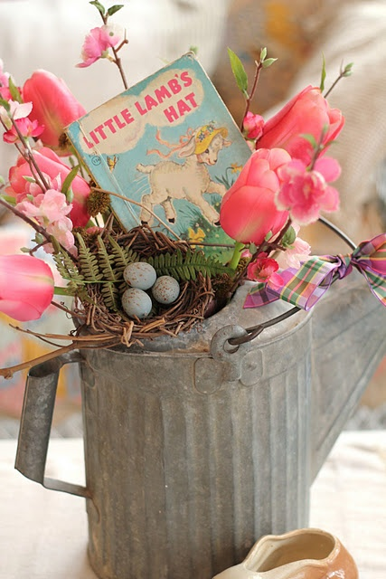 "idea for an Easter ""basket"" instead of the store-bought plastic ones. It would make a pretty centerpiece, too."