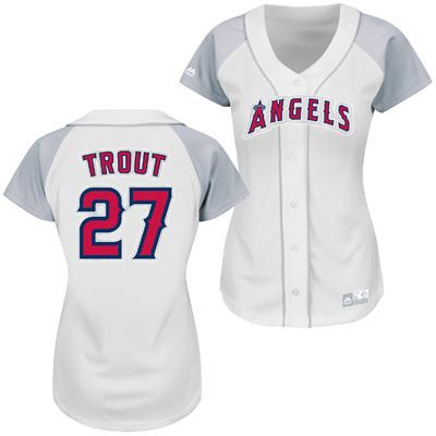 ... Los Angeles Angels of Anaheim Majestic MLB Mike Trout 27 Womens Fashion  Replica Jersey ... 82ffb120a