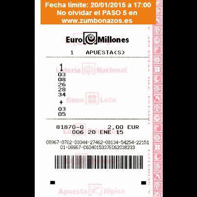 Juega gratis con Zumbonazos a los Euromillones del 20/01/2015. Y participa en muchos más sorteos en www.zumbonazos.es y nuestra página de Facebook.
