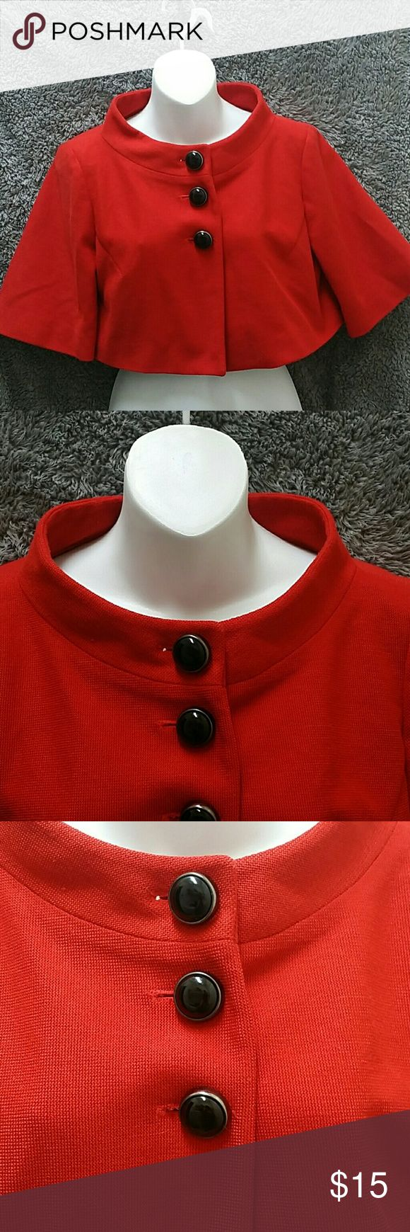 Forever 21 Bolero Jacket Pre-owned : great condition, no rips, tears, or stains. Bolero is a dark, red-orange color, great for summer, perfect for office attire. Bolero has a Jackie O feel to it, very 60's, Mad Men. Feel free to ask questions or request different pictures. Forever 21 Jackets & Coats Capes