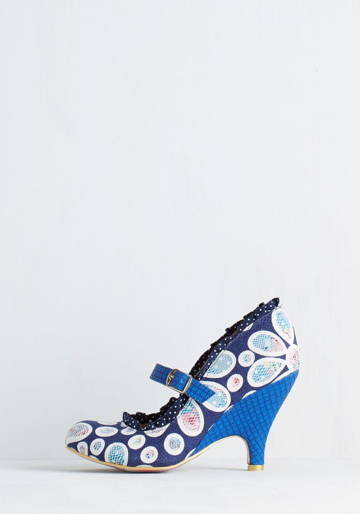 Petal Me Everything Heel. Catch up with pals over cocktails in these striking, navy pumps by Irregular Choice. #blue #modcloth
