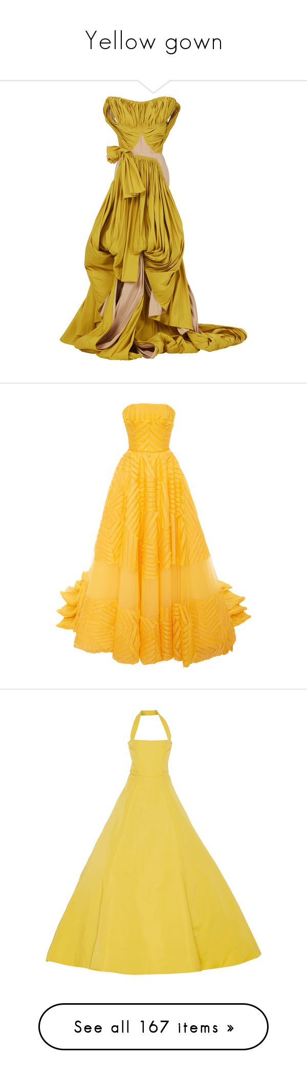 """""""Yellow gown"""" by rebellious-ingenue ❤ liked on Polyvore featuring dresses, gowns, yellow, fitted dress, yellow evening dress, yellow fitted dress, white ball gowns, white fitted dress, carolina herrera and dresses/gowns"""