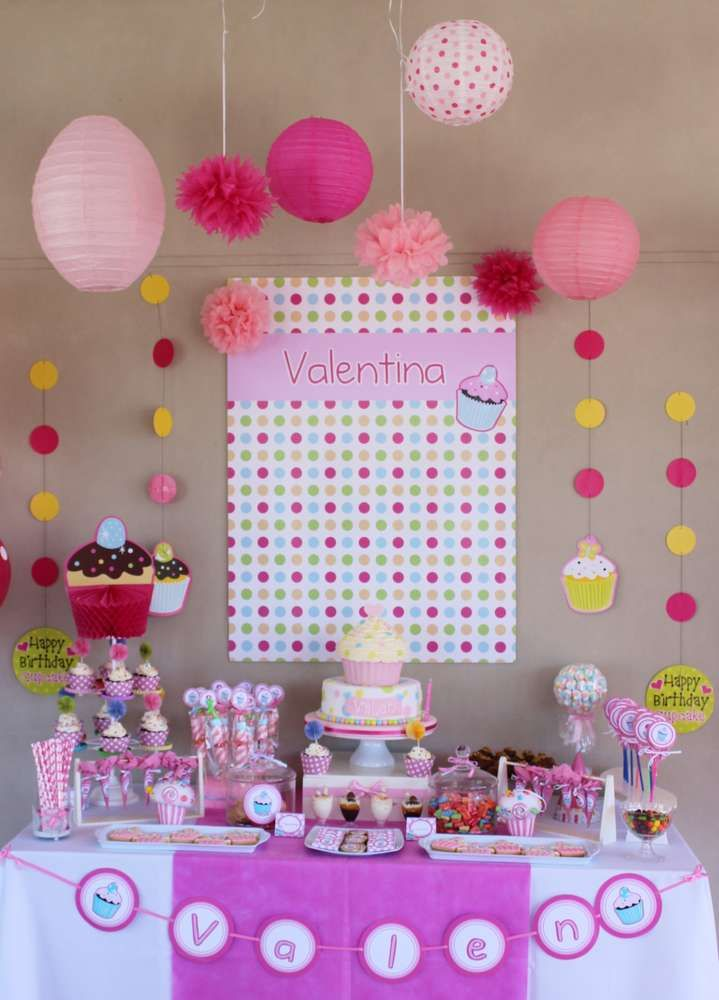 Cupcake girl Birthday Party dessert table!  See more party planning ideas at CatchMyParty.com!