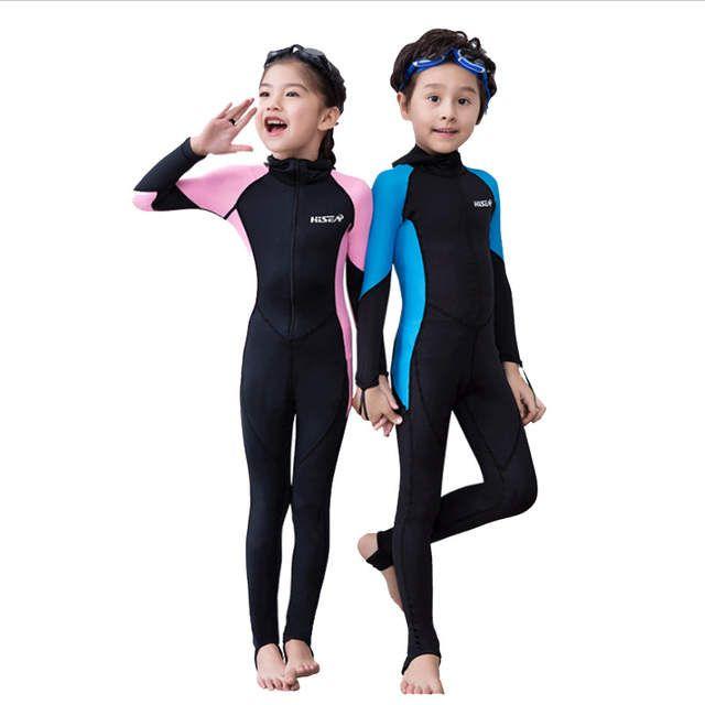 52b6c5cf3 One Piece Diving Suit New Lycra Long Sleeve Wetsuit Kids Swimsuit Boys  Girls Bathing Suit Children Swimwear Surfing Rash Guard
