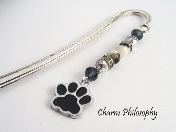 Dog Bookmark Dog Paw Charm Beaded Bookmark by charmphilosophy