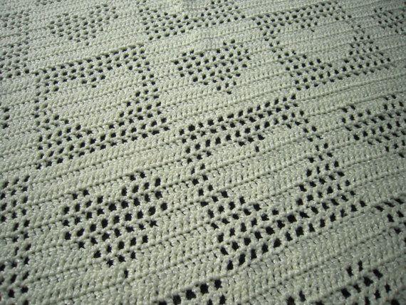 Light Yellow Hearts Crocheted baby blanket (33x47) $50