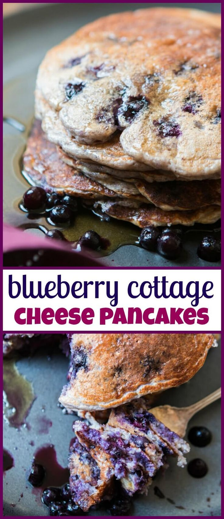 Sometimes you just need a big pile of pancakes and these healthy wild blueberry cottage cheese pancakes will fill your belly but not your waistline. gluten-free via @ohsweetbasil