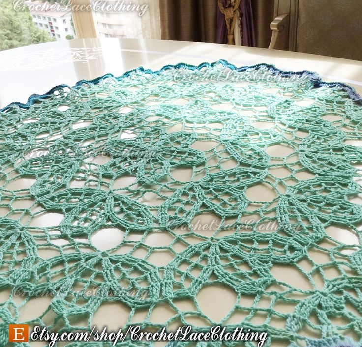 Crochet Lace Tablecloth Doily Mint Rustic Wedding Decor Lace Home Kitchen Decor, free shipping / IN STOCK by CrochetLaceClothing on Etsy