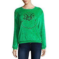 Dr Seuss The Grinch Junior's Minky Fleece Plush Pullover Sweater (Large 11/13)
