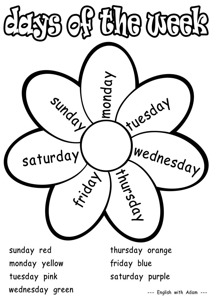 Printable Worksheets worksheets of english for nursery class : Best 25+ Days of week ideas on Pinterest | Days of the week ...