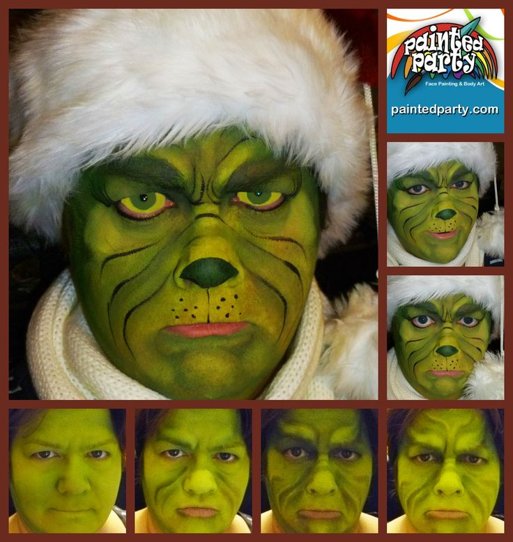 Grinch Design by Denise Cold of Painted Party Face Painting www.PaintedParty.com done in Green, Yellow & Pink Starblends