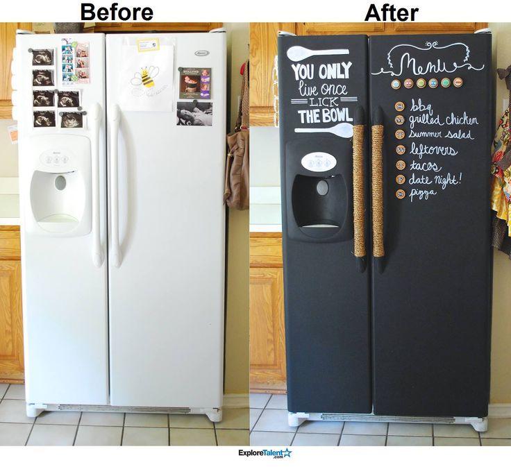Chalkboard fridge!! Done with rustoleum chalkboard spray paint.