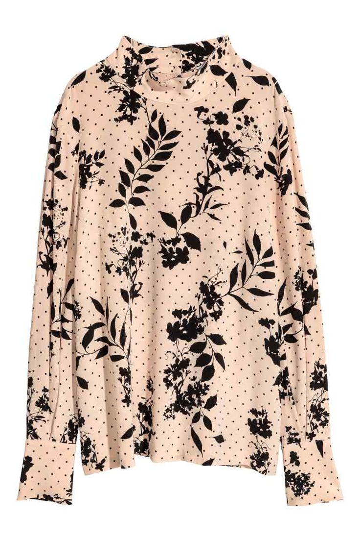 Mønstret silkebluse - Pudderrosa/Mønstret - DAME   H&M DK