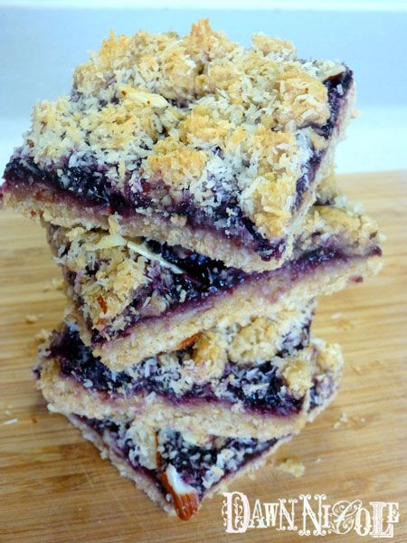 Oatmeal Toasted Coconut and Almond Blueberry Bars {Clean-Eating}