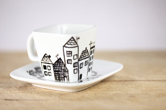 PLEASE NOTE:  this pin is NOT a DIY.  This is an artist's work who took a lot of time to design and paint this piece.  I hope all can respect her and her art work.  Thank you!  Hand Painted Porcelain Espresso Cup and Saucer by SylwiaGlassArt on Etsy