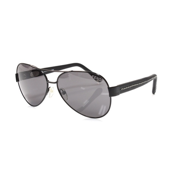 Fendi Black Leather Selleria Mens Aviator Sunglasses- Style FS396ML - $149.99