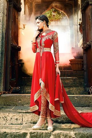 Red Asymmetrical Jacket Style Anarkali Suit with Embellished Pants