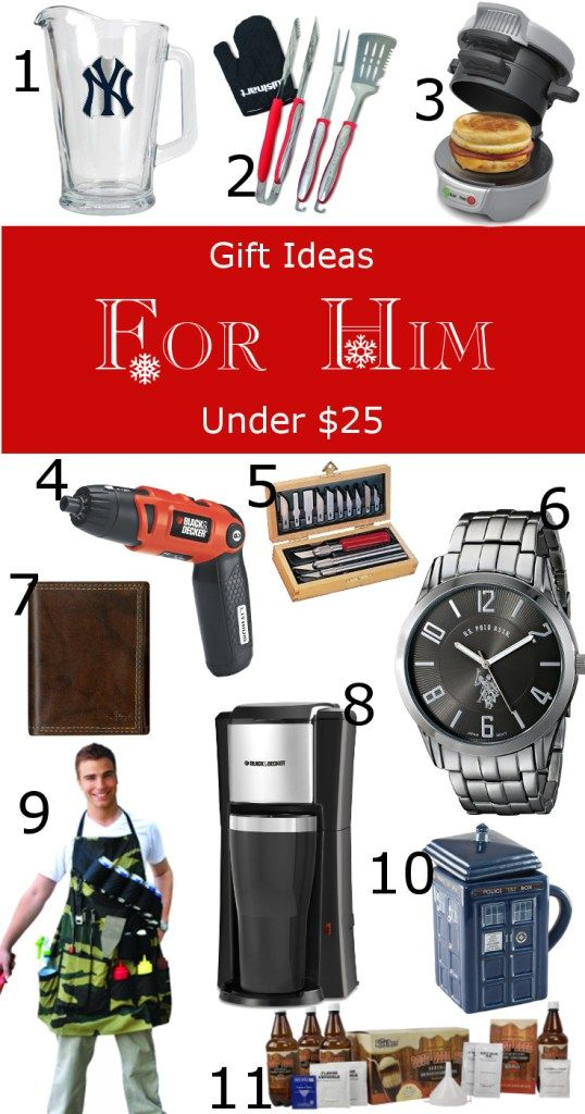 Gift Ideas for Him for under $25.  Get your husband or boyfriend a Christmas gift that he'll love on a budget.