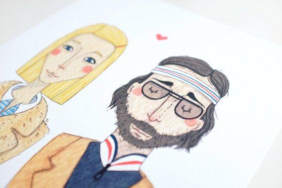 Margot et Richie Tenenbaums carte postale par andsmile sur Etsy