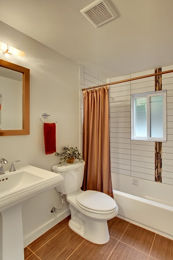 remodeled bathroom in this restored home in Seattle area