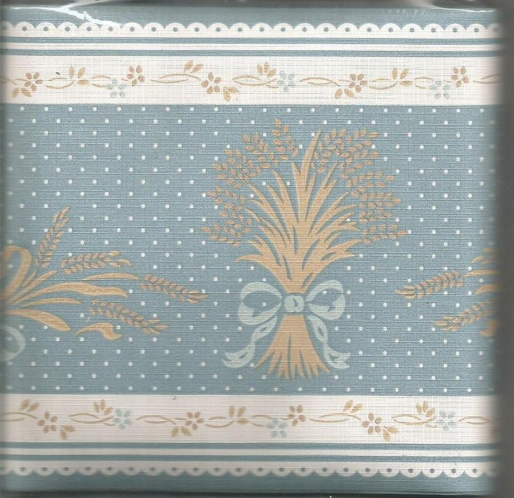 Country Blue Wheat Design Wallpaper Border by Innova
