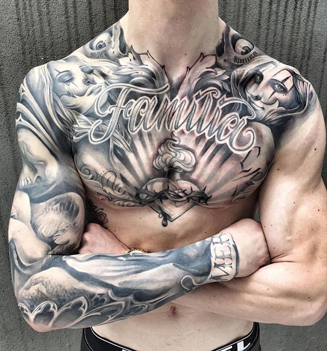 Awesome b&g chest panel/ Arm sleeve Artist IG: @mackotattoo #tattoo #artists…
