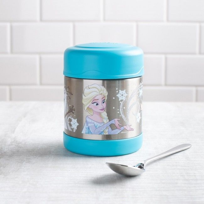 Keep lunch cold for Elsa or hot enough to melt Olaf! The Thermos double wall stainless steel vacuum insulated construction ensures maximum temperature retention for hot or cold food. With a twist on lid and wide mouth opening the funtainer is easy to fill but won't accidentally spill in your lunch bag!