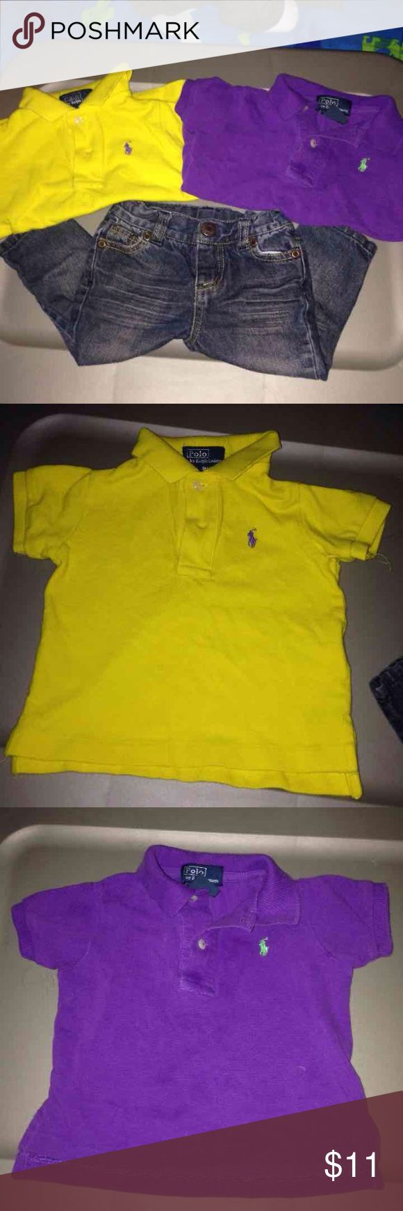 Boys 9 mo Purple and yellow polo shirts and free skinny jeans Ralph Lauren Shirts & Tops Polos