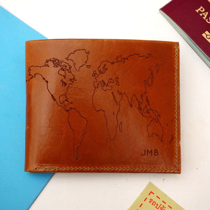 Leather Travel Wallet with world map, personalized, personalised, leather gift, mens gift, monogrammed, fathers day, bill fold, coin wallet
