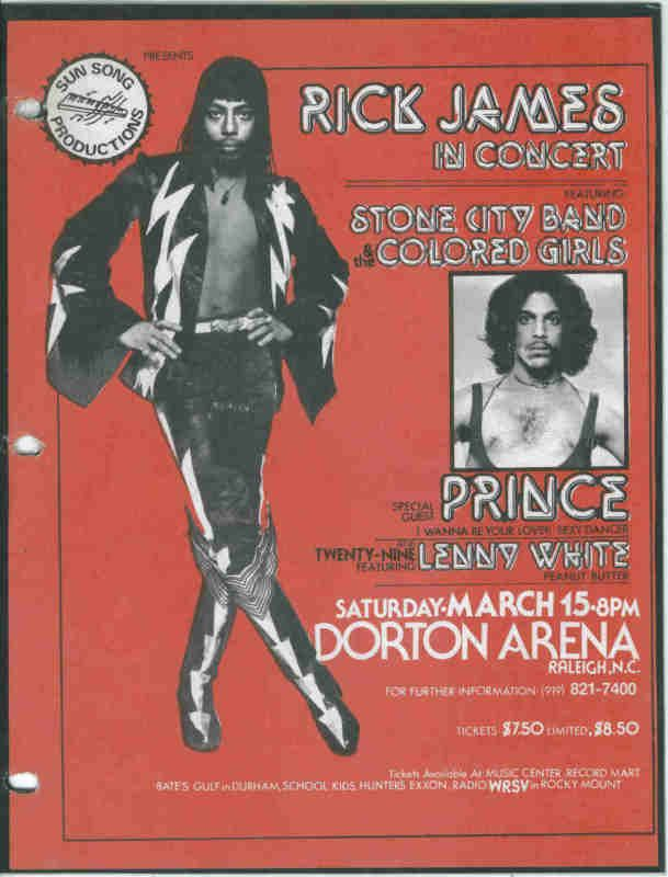Prince opened for Rick James at Dorton Arena right here in Raleigh, NC!