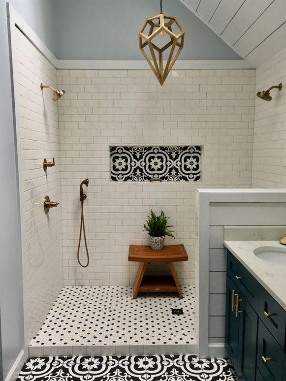 My Master Bath Remodel Large Dual Head Shower White Subway Tile Black And White Patterned Tile Best Bathroom Tiles Beautiful Tile Bathroom Amazing Bathrooms