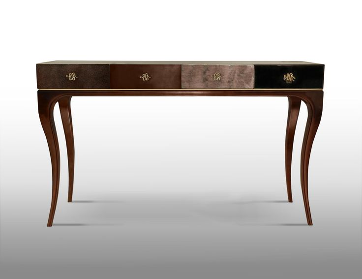 UNTAMED console by Koket | Fierce details packed with primal power, verve and bite wrap this reptilian console. Drawer fronts composed of various materials, antique mirror, bronze lacquer, multi-pewter iridescent leather, and brown leather, finely refined by brass coiled snake hardware. #console #leatherconsole #interiors http://www.bykoket.com/guilty-pleasures/casegoods/untamed-console.php