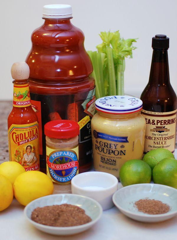 3 Tbsp dijon mustard  3 Tbsp worchestershire sauce  2 Tbsp prepared horseradish  2 Tbsp hot sauce (like Tabasco)  2.5 oz lemon juice (about 2 lemons)  1.5 oz lime juice (about 2 limes)  2 Tbsp olive brine  1 tsp celery seed  2 tsp fresh ground black pepper  2 tsp kosher or sea salt   64 oz tomato vegetable juice