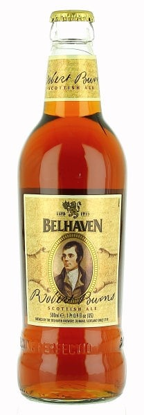 Belhaven Robert Burns Ale. Abv 4.2%. Of course, what else could it be except poetry in a glass? Created in honour of Scotland's finest Bard, this malty ale is a rare treat with food. Nothing tim'rous about this beer - it's dark, sweet and almost toffee-like this is a real taste of Scotland.