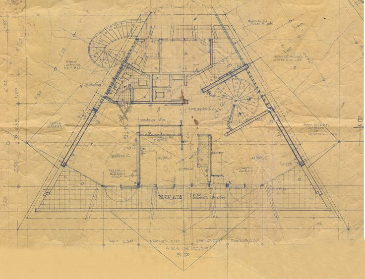 Fernandini House.  Second floor. Job site copy of the construction drawing. Weberhofer Archives