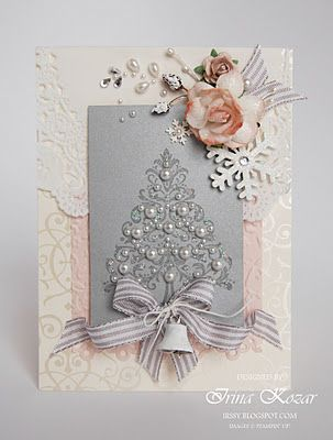Gorgeous Christmas Card...with pearl tree, ribbon, flowers, & bell.