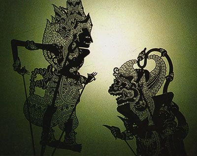 The Indonesian 'Wayang Kulit' shadow puppets depicting The Ramayana.