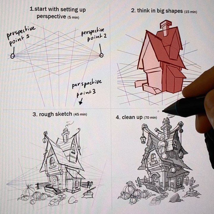 Mitch Leeuwe On Instagram How To Draw Houses In Perspective Swipe To See All The Videos Do You Str In 2020 Perspective Art Background Drawing Character Design Tips