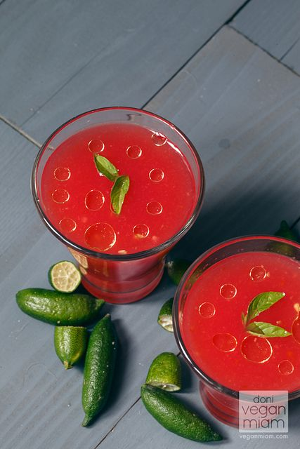 watermelon gazpacho with finger limes - vegan