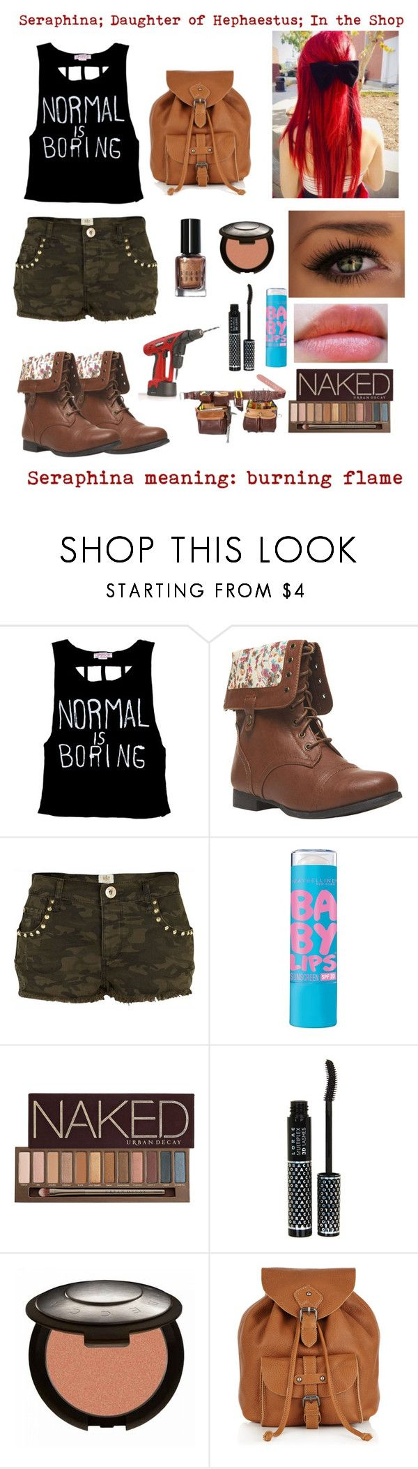 """""""Daughter of Hephaestus"""" by demigodoutfitters ❤ liked on Polyvore featuring Wet Seal, River Island, Revlon, Maybelline, Urban Decay, LORAC, Jigsaw, Bobbi Brown Cosmetics and Hudson Jeans"""