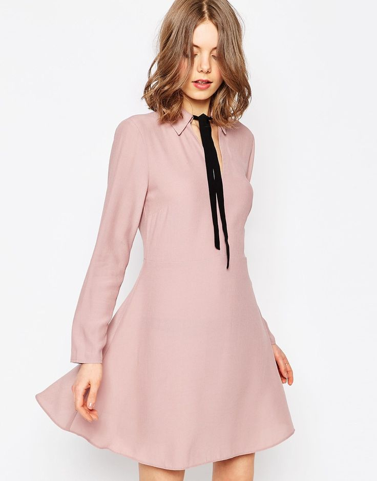Image 1 of ASOS Shirt Dress With Contrast Tie