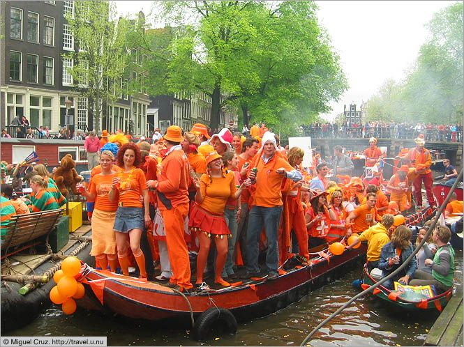 Queen's Day is held in the Netherlands in celebration of Princess Wilhelmina who became the country's queen. The celebration is generally held on April 30th but sometimes falls on April 29th. Follow the link to read more about this fun day and why they wear orange.