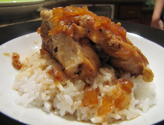 made with chicken breasts, onion, cloves, soy sauce, pepper, vinegar ...